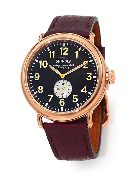 Runwell 47MM Stainless Steel & Leather Watch