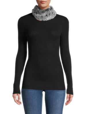 SURELL Rabbit Fur Headband Scarf in White