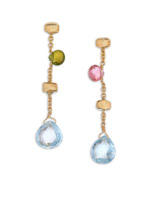 Marco Bicego Paradise Semi Precious Multi Stone 18k Yellow Gold Drop Earrings