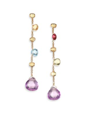 Marco Bicego Paradise Semi Precious Multi Stone Multicolor 18k Yellow Gold Drop Earrings