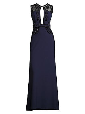 """Image of Elegantly embellished gown with mesh panel insets Crewneck Sleeveless Concealed back zip Front keyhole Mesh back About 60"""" from shoulder to hem Polyester Dry clean Imported Model shown is 5'10"""" (177cm) wearing US size 4. Dress Collectio - Contemporary Eve"""