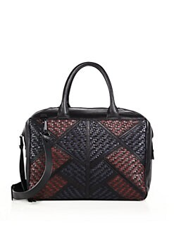 Christopher Kon - Geo Patch Smooth & Woven Leather Shoulder Bag
