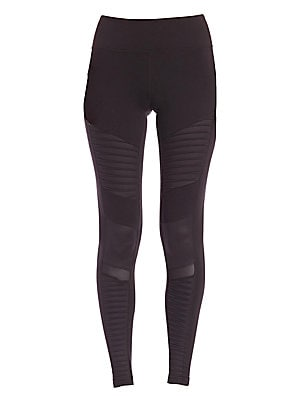 "Image of Glossy panels and sheer insets lend urban-cool contrast to these sleek and stretchy performance leggings. Elasticized waist Paneled detail Sheer insets Pull-on style Rise, about 8"" Inseam, about 28"" Nylon/spandex Contrast: Polyester/spandex Hand wash Impo"