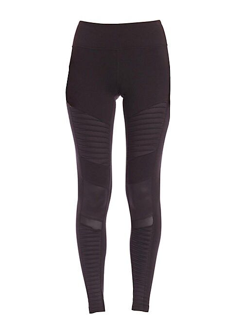 "Image of Glossy panels and sheer insets lend urban-cool contrast to these sleek and stretchy performance leggings. Elasticized waist. Paneled detail. Sheer insets. Pull-on style. Rise, about 8"".Inseam, about 28"".Nylon/spandex. Contrast: Polyester/spandex. Hand was"