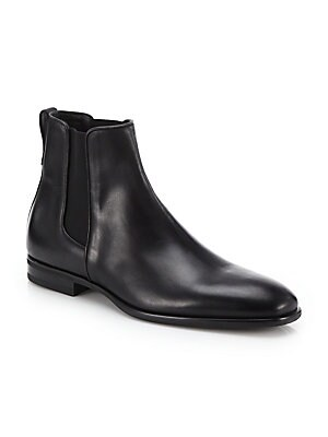 Image of Form meets function on this weatherproofed Chelsea boot designed in a crisp, polished silhouette. Leather upper Waterproof Weatherproof Leather lining Padded insole Flexible rubber sole Made in Italy. Men's Shoes - Mens Classic Footwear. Aquatalia. Color: