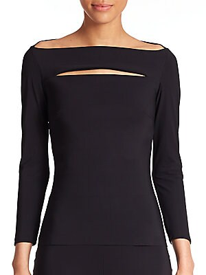"""Image of A demure boatneck top with three-quarter sleeves, rendered in stretch jersey, gets a dose of edgy styling with a slit across the bodice. Boatneck Three-quarter sleeves Slit at front Raw-edge hem Step in and pull up style About 23"""" from shoulder to hem Pol"""