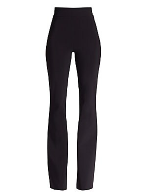 """Image of A formfitting pair with an on-trend high waist and flared silhouette, featuring raw-edge hems for a customisable fit. Elasticised waistband Pull-on style High waist Flared leg Raw-edge hem Inseam, about 33"""" Polyamide/elastane Dry clean Made in Italy. Dres"""
