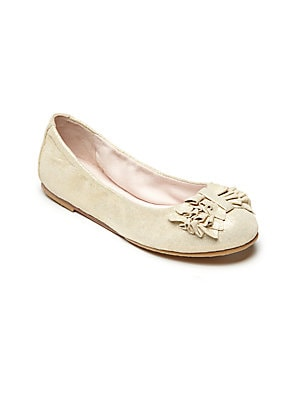 Image of A ruffled bow adds sweet style to these ladylike ballet flats, crafted from leather and rendered in a pearlized finish. Ruffled vamp bow Slip-on style Leather upper Leather/rubber sole Padded insole Imported. Children's Wear - Children's Shoes > Saks Fift