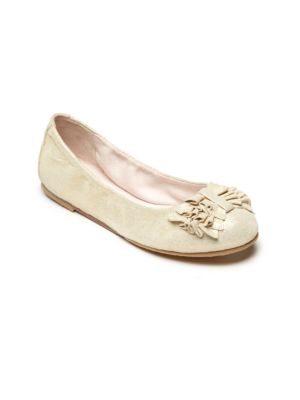 Image of A ruffled bow adds sweet style to these ladylike ballet flats, crafted from leather and rendered in a pearlized finish. .Ruffled vamp bow. Slip-on style. Leather upper. Leather/rubber sole. Padded insole. Imported.