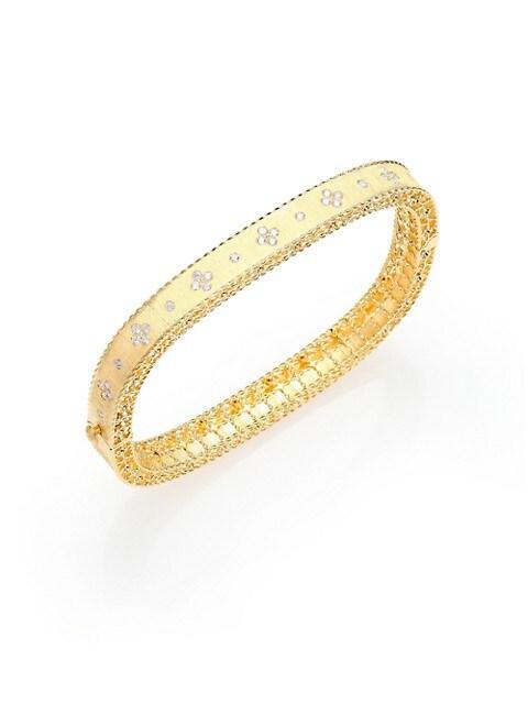 Princess18K Yellow Gold & Diamond Bangle Bracelet