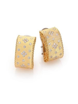 Princess Diamond & 18 K Yellow Gold Drop Earrings by Roberto Coin