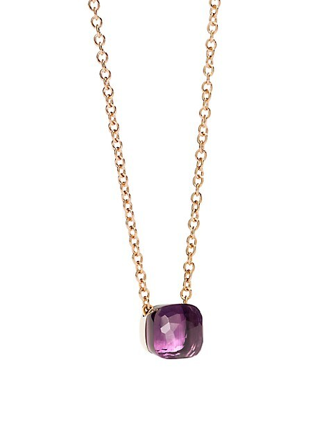 Amethyst & 18K Rose Gold Pendant Necklace