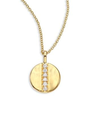 """Image of From the Glamazon Collection. Delicate column of diamond pave aligns upon petite 18k gold disc. Diamonds, 0.08 tcw.18k yellow gold. Length, 16"""" with 2"""" extender. Pendant diameter, 0.6"""".Lobster clasp. Imported."""