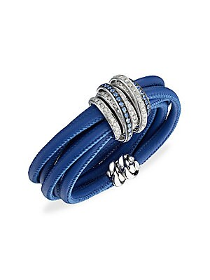 Image of From the Allegra Collection. Eclectic bracelet bound together with leather cord and white gold to showcase the sparkle of sapphires and diamonds. Icy diamond, 2.65 tcw Blue sapphire, 1.30 tcw 18K white gold Leather cord Magnetic clasp Made in Italy SIZE D