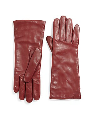 "Image of ONLY AT SAKS Cashmere lined gloves of buttery Nappa leather Cashmere lining Length, 10.75"" Leather Dry clean by leather specialist Imported. Soft Accessorie - Womens Gloves. Saks Fifth Avenue. Color: Grey. Size: 6.5."