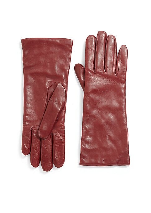 "Image of EXCLUSIVELY OURS. Cashmere lined gloves of buttery Nappa leather. Cashmere lining. Length, 10.75"".Leather. Dry clean by leather specialist. Imported."