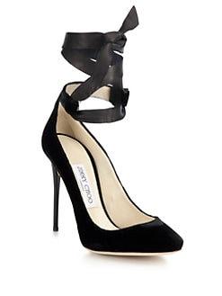 Jimmy Choo - Rosana Velvet & Leather Ankle-Tie Pumps <br>