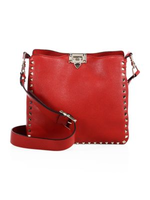 Rockstud Small Vitello Leather Hobo Bag in Red