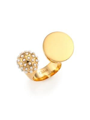 Darcey Faux Pearl Sphere Open Ring, Gold