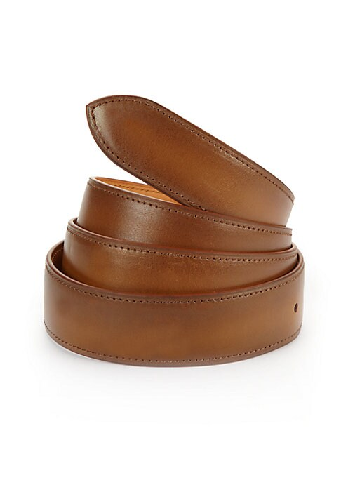 Image of EXCLUSIVELY AT SAKS FIFTH AVENUE. Handcrafted French calf leather belt with five holes for size adjustment for everyday style. Corthay buckle in a choice of finishes sold separately and fits into a single hole on the strap. Strap includes five holes on ba
