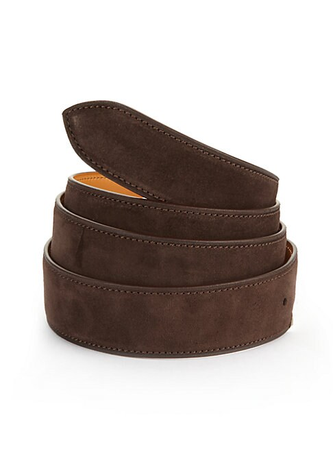 Image of EXCLUSIVELY AT SAKS FIFTH AVENUE. Handcrafted French calf suede belt with five holes for size adjustment for everyday style. Corthay buckle in a choice of finishes sold separately and fits into a single hole on the strap. The strap includes five holes on