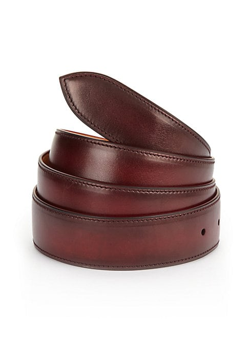Image of EXCLUSIVELY AT SAKS FIFTH AVENUE. Handcrafted French calf leather belt with five holes for size adjustment for everyday style. Corthay buckle in a choice of finishes sold separately and fits into a single hole on the strap. The strap includes five holes o