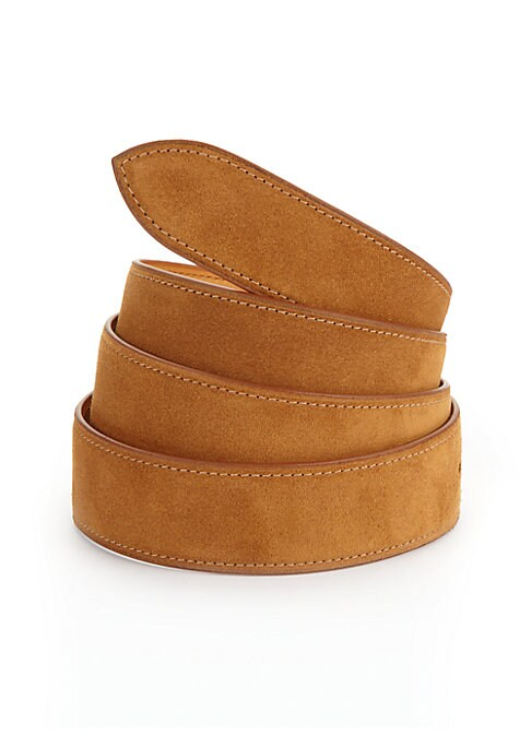 Image of EXCLUSIVELY AT SAKS FIFTH AVENUE. Handcrafted French calf suede belt with five holes for size adjustment for everyday style. Corthay buckle in choice of finishes sold separately and fits into single hole side of thestrap. Strap includes five holes on the