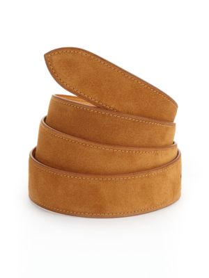 "Image of EXCLUSIVELY AT SAKS FIFTH AVENUE. Castor French calf suede, hand-made for everyday style. Strap includes five holes on back side to attach to buckle. Width, about 1"".Leather. Made in France. Please note: buckle sold separately"