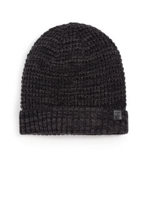 BICKLEY + MITCHELL Faux Sherpa-Lined Thermal Cuff Beanie in Black