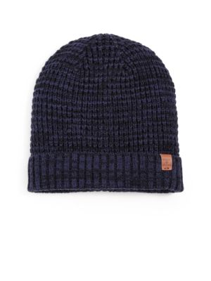 BICKLEY + MITCHELL Faux Sherpa-Lined Thermal Cuff Beanie in Navy