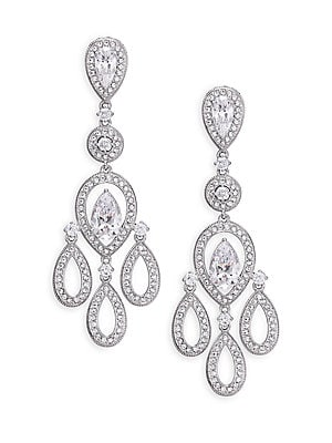 """Image of ONLY AT SAKS. A delicate chandelier silhouette imparts classic elegance to this earring design, all covered in shimmering pavé crystal and detailed with multi-shaped cubic zirconia solitaires. Cubic zirconia and crystal Rhodium-plated brass Length, 1.8"""" W"""