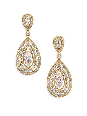 """Image of ONLY AT SAKS. 18k goldplated brass is cast in a cutout design resembling delicate filigree, all illuminated by pavé crystal and shimmering cubic zirconia solitaires. Cubic zirconia and crystal 18k goldplated brass Length, 1.25"""" Width, 0.7"""" Post back Impor"""