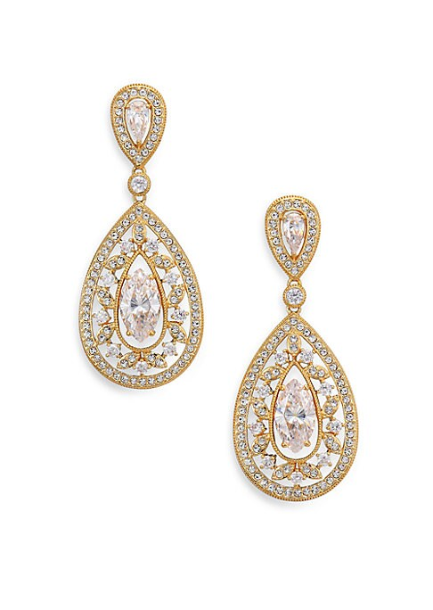 "Image of EXCLUSIVELY AT SAKS FIFTH AVENUE. 18k goldplated brass is cast in a cutout design resembling delicate filigree, all illuminated by pave crystal and shimmering cubic zirconia solitaires. Cubic zirconia and crystal.18k goldplated brass. Length, 1.25"".Width,"
