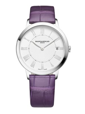 Image of From the Classima Collection. A rich, vibrantly dyed crocodile strap in violet emboldens this otherwise refined style in stainless steel, showcasing an understated dial in white with classic, applied Roman numeral hours, a discrete date display and a subt