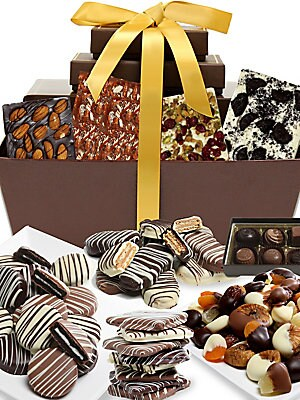 Image of A basket filled with chocolate treats. Includes: 12 classic Belgian chocolate-covered Oreo® Cookies; six Belgian chocolate-dipped Nutter Butter® Cookies; eight Belgian chocolate-covered graham crackers; 1 lb. Belgian chocolate-covered dried fruits
