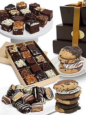 Image of A delicious selection of chocolate-dipped treats arrives in an elegant gift box. Includes: 15 brownie bites, 12 gourmet cookies dipped in Belgian chocolate, six Oreo® cookies covered in Belgian chocolate, and six Nutter Butter® cookies covered in