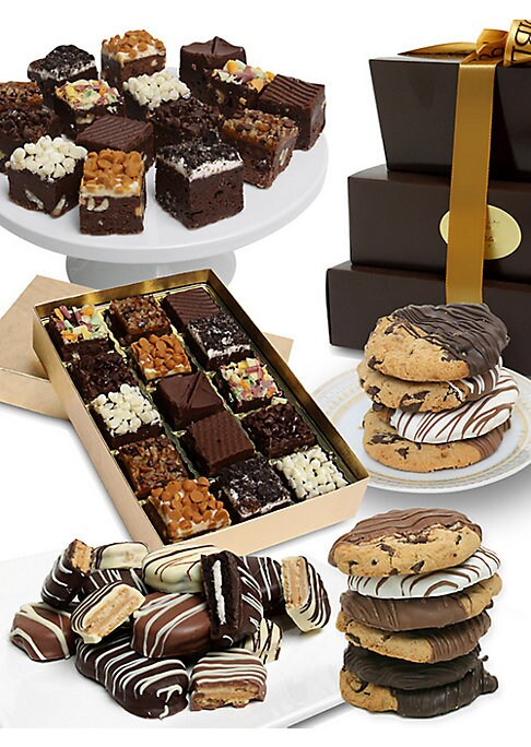 Image of A delicious selection of chocolate-dipped treats arrives in an elegant gift box. Includes: 15 brownie bites, 12 gourmet cookies dipped in Belgian chocolate, six Oreo? cookies covered in Belgian chocolate, and six Nutter Butter? cookies covered in Belgian