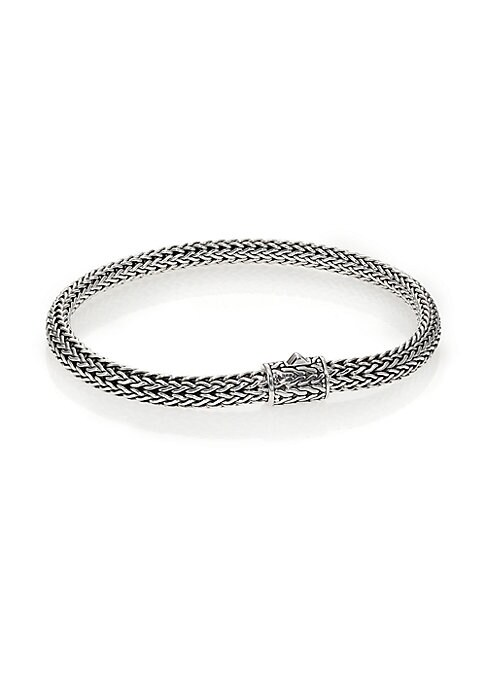 "Image of From the Classic Chain Collection. John Hardy's signature chain bracelet, intricately woven of sterling silver, secures with a barrel clasp of matching engraved design. Sterling silver. Length, 7.45"".Width, 5mm. Push-lock clasp. Imported."