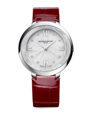Promesse 10262 Stainless Steel & Alligator Strap Watch