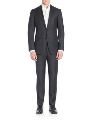 "Image of Don on a polished look by pairing these sleek silhouette jacket and flat-front pants. Wool. Dry clean. Made in Italy. JACKET. Notch lapel. Two-button front. Long sleeves with buttoned cuffs. Chest welt pocket. Waist flap pockets. Lined. About 30"" from sho"