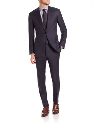 Image of This single-breasted suit is well-tailored in a luxe Italian wool. Full canvas construction. Dry Clean. Made in Italy. JACKET. Notch lapel. Two-button front. Chest welt pocket. Waist flap pockets. Four button detail at cuffs. Dual back vents. Fully lined.
