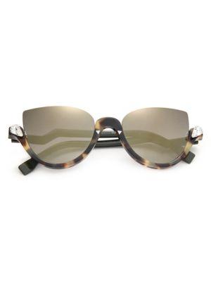 52MM Embellished Semi-Rimless Acetate Sunglasses