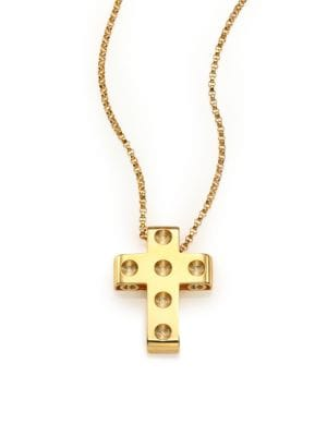 Pois Moi 18K Yellow Gold Cross Pendant Necklace