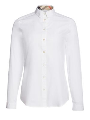 Check Button Down Blouse by Burberry
