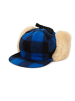"""Image of Yukon wool-blend buffalo check with shearling ear flaps Brim, about 3"""" Chin tie straps Wool/polyester/acrylic Fur type: Bleached shearling Fur origin: Uruguay Dry clean by fur specialist Made in Canada. Men Accessories - Cold Weather Accessories. Crown Ca"""