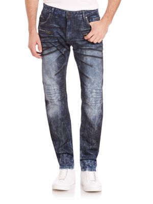 Slim Fit Moto Jeans