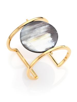 Nest Horn Disc Statement Cuff Bracelet