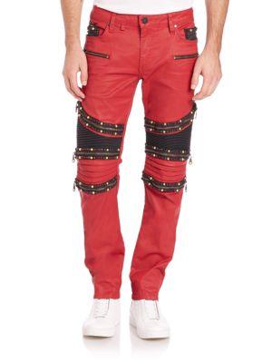 Skinny Embellished Moto Jeans