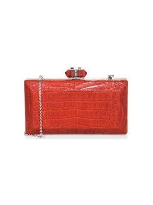 East/West Coffered Rectangle Crocodile Clutch