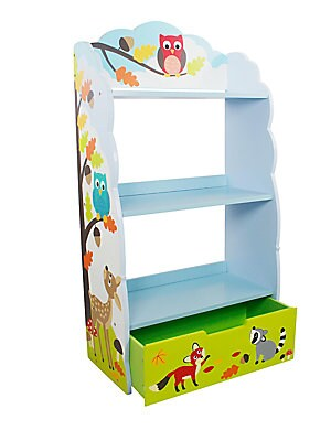 "Image of Colorful bookshelf in handpainted design Three shelves, one drawer 23""W X 41.75""H X 10.75""D Eco-friendly wood and medium-density fiberboard Wipe clean with a damp cloth Imported Recommended for ages 3 and up Some assembly required. Gifts - Decorative Home"